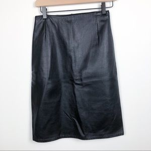 Vintage Firenze 100% Leather Black Pencil Skirt
